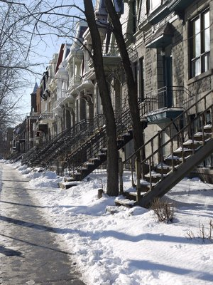 Snowy Street Scene, Montreal