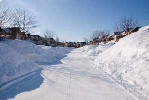Snow piled up in an Ottawa suburb