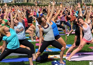 Yoga outside parliament